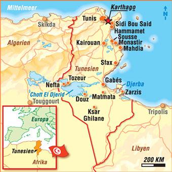 Tunesien Karte.Karten Tunesien